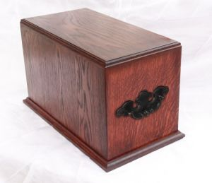 Rosewood stained urn with handles